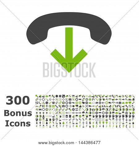 Phone Hang Up icon with 300 bonus icons. Vector illustration style is flat iconic bicolor symbols, eco green and gray colors, white background.