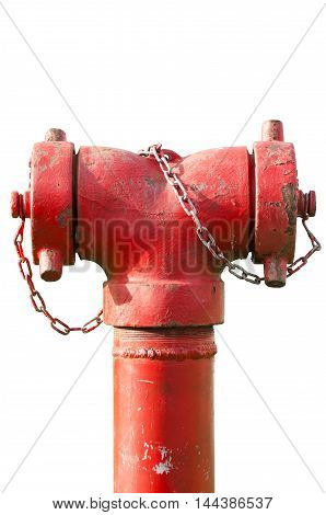 Fire hydrant hose connection fire on white background with clipping paths.