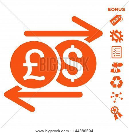 Currency Exchange icon with bonus pictograms. Vector illustration style is flat iconic symbols, orange color, white background, rounded angles.