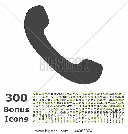 Phone Receiver icon with 300 bonus icons. Vector illustration style is flat iconic bicolor symbols, eco green and gray colors, white background.