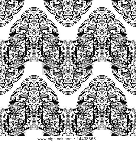 Vector hand drawn outline pattern. Wild cat seamless with ornamental ethnic pattern. Doodle wallpaper, zenart,