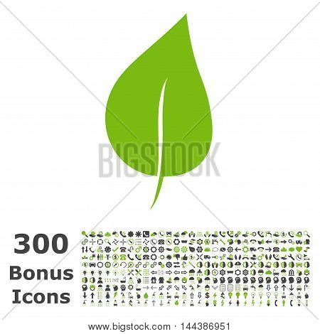 Plant Leaf icon with 300 bonus icons. Vector illustration style is flat iconic bicolor symbols, eco green and gray colors, white background.