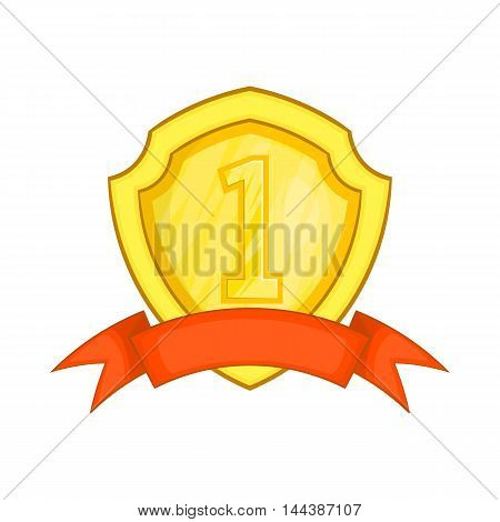 Winner label with red ribbon icon in cartoon style isolated on white background