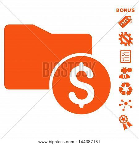 Money Folder icon with bonus pictograms. Vector illustration style is flat iconic symbols, orange color, white background, rounded angles.