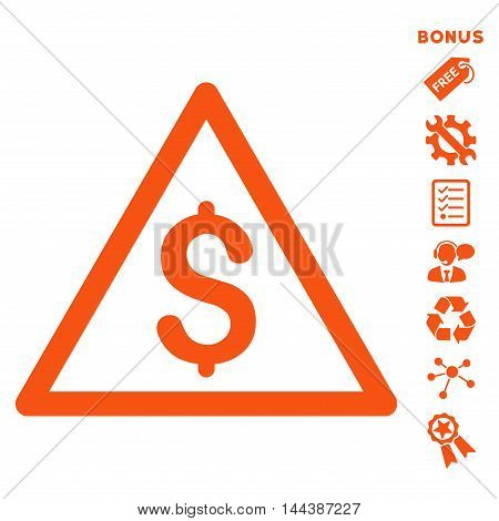 Money Warning icon with bonus pictograms. Vector illustration style is flat iconic symbols, orange color, white background, rounded angles.