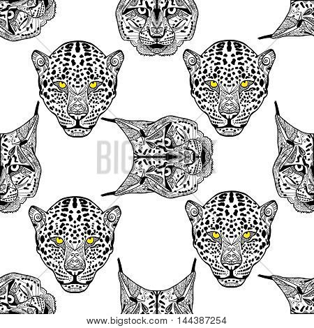 Detailed hand drawn Cheetah and lynx portrait. Vector illustration. Set of isolated drawing wild cats heads and faces some breeds. Black pattern on white background. Zenart