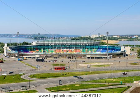 Kazan, Tatarstan, Russia - June 11, 2016: the view of the Central stadium and the river embankment Kazanka.