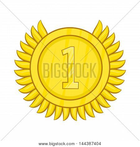 Champion gold medal icon in cartoon style isolated on white background