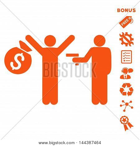 Thief Arrest icon with bonus pictograms. Vector illustration style is flat iconic symbols, orange color, white background, rounded angles.