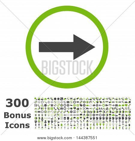 Right Rounded Arrow icon with 300 bonus icons. Vector illustration style is flat iconic bicolor symbols, eco green and gray colors, white background.