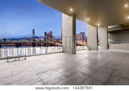 cityscape and skyline of portland from brick floor
