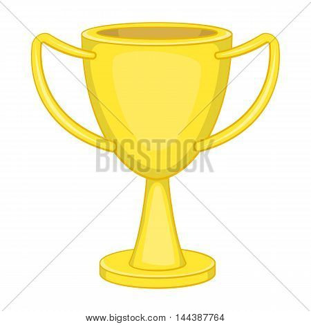 Winner trophy cup icon in cartoon style isolated on white background