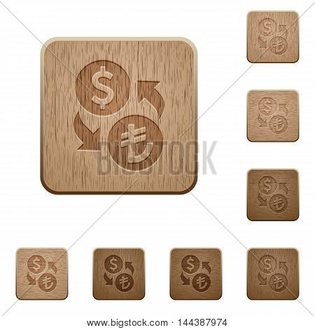Set of carved wooden Dollar Lira exchange buttons in 8 variations.