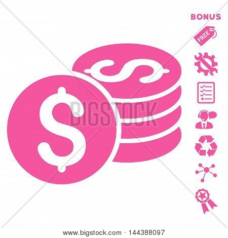 Dollar Coin Stack icon with bonus pictograms. Vector illustration style is flat iconic symbols, pink color, white background, rounded angles.