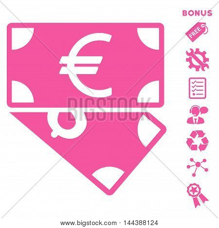 Euro and Dollar Banknotes icon with bonus pictograms. Vector illustration style is flat iconic symbols, pink color, white background, rounded angles.