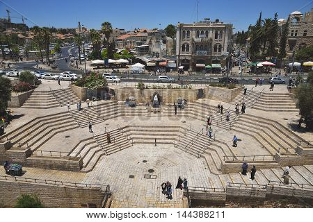 JERUSALEM, ISRAEL - JUNE 2, 2015: View from the Damascus Gate on the steps and the road