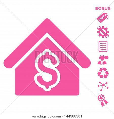 House Rent icon with bonus pictograms. Vector illustration style is flat iconic symbols, pink color, white background, rounded angles.