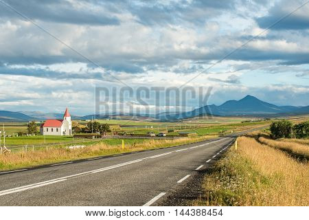Glaumabaer church between Saudarkrokur and Varmahlid in Iceland
