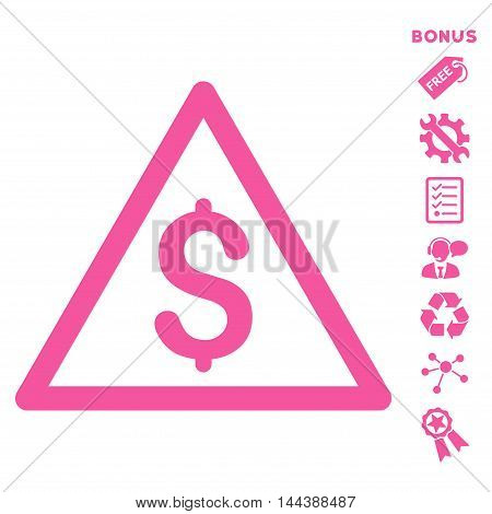 Money Warning icon with bonus pictograms. Vector illustration style is flat iconic symbols, pink color, white background, rounded angles.
