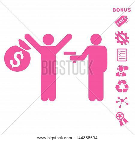 Thief Arrest icon with bonus pictograms. Vector illustration style is flat iconic symbols, pink color, white background, rounded angles.