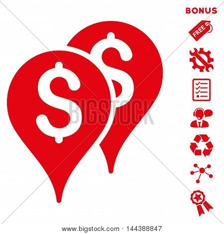 Bank Map Markers icon with bonus pictograms. Vector illustration style is flat iconic symbols, red color, white background, rounded angles.