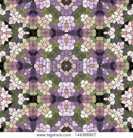 Abstract seamless texture of mosaic kaleidoscope pattern for background