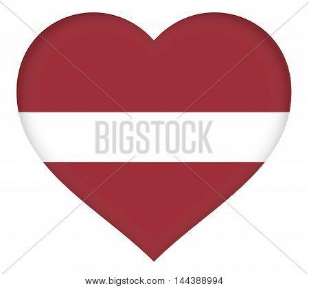 Illustration of the flag of Latvia shaped like a heart