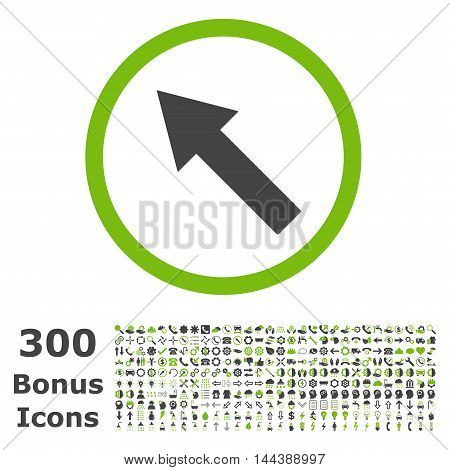 Up-Left Rounded Arrow icon with 300 bonus icons. Vector illustration style is flat iconic bicolor symbols, eco green and gray colors, white background.