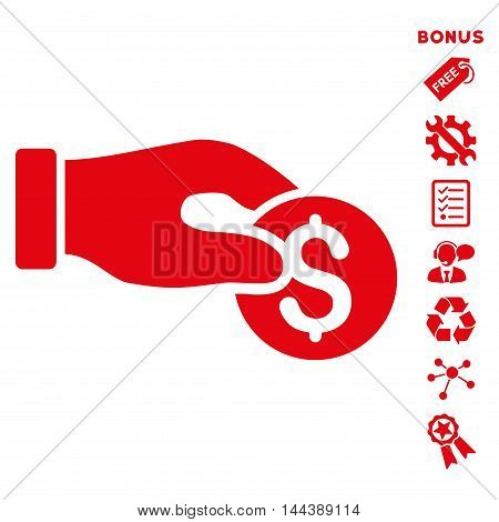Coin Donation icon with bonus pictograms. Vector illustration style is flat iconic symbols, red color, white background, rounded angles.