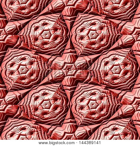 Seamless texture of red Mayan ornaments / background