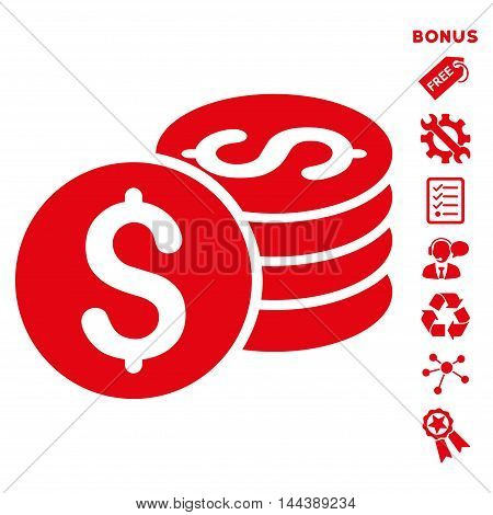 Dollar Coin Stack icon with bonus pictograms. Vector illustration style is flat iconic symbols, red color, white background, rounded angles.