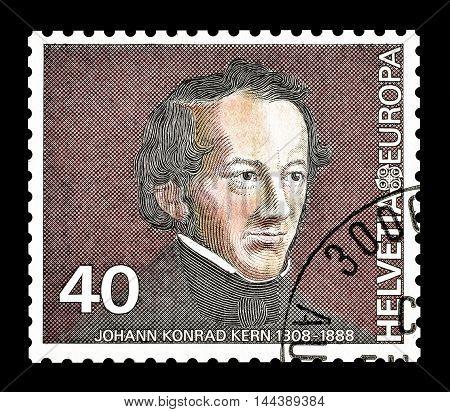 SWITZERLAND - CIRCA 1980 : Cancelled postage stamp printed by Switzerland, that shows Johann Konrad Kern.