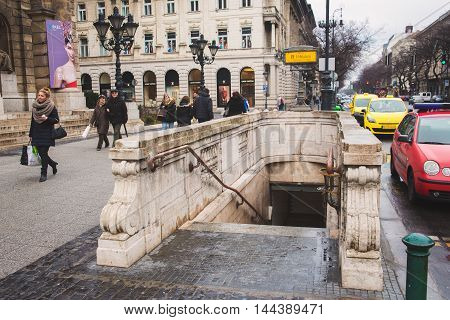 BUDAPEST, HUNGARY - MARCH 13, 2015: Entrance to the old subway station in Budapest