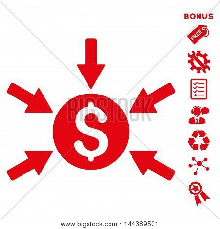 Money Income icon with bonus pictograms. Vector illustration style is flat iconic symbols, red color, white background, rounded angles.