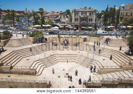 JERUSALEM, ISRAEL - JUNE 2, 2015: View from the Damascus Gate on the steps and the road. June 2, 2015. Jerusalem, Israel.