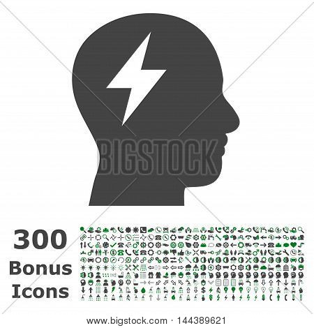 Brainstorming icon with 300 bonus icons. Vector illustration style is flat iconic bicolor symbols, green and gray colors, white background.
