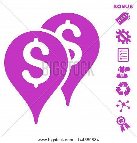 Bank Map Markers icon with bonus pictograms. Vector illustration style is flat iconic symbols, violet color, white background, rounded angles.