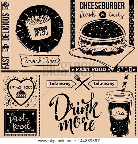 Vector background with fast food symbols. Menu pattern. Vector Illustration with cheeseburger french fries soda and lettering on craft paper background. Decorative elements for packaging design