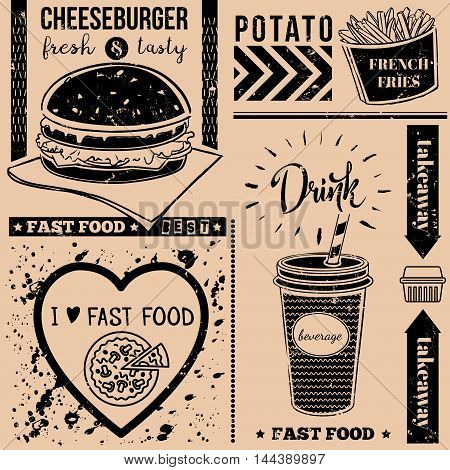 Vector background with fast food symbols. Menu pattern. Vector Illustration with cheeseburger french fries and lettering on craft paper background. Decorative elements for packaging design