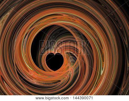 Abstract fractal orange heart swirling on black background