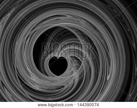 Abstract fractal grey heart swirling on black background