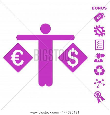 Currency Trader icon with bonus pictograms. Vector illustration style is flat iconic symbols, violet color, white background, rounded angles.