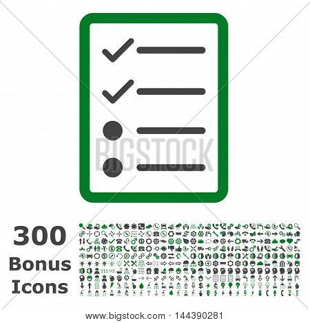 Checklist Page icon with 300 bonus icons. Vector illustration style is flat iconic bicolor symbols, green and gray colors, white background.