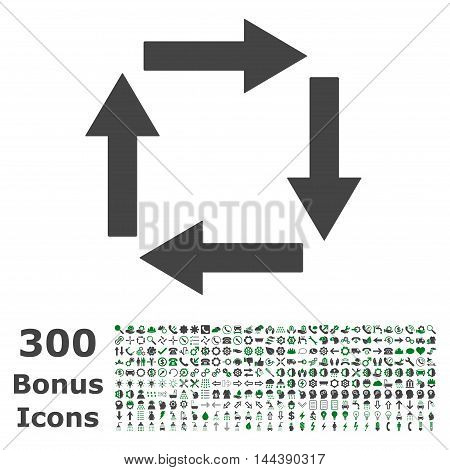 Circulation Arrows icon with 300 bonus icons. Vector illustration style is flat iconic bicolor symbols, green and gray colors, white background.