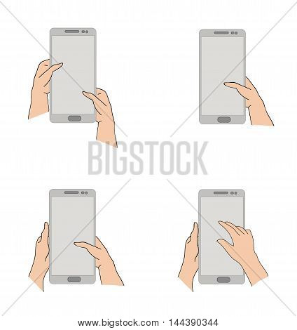 position of hands when working on a smartphone or tablet. vector illustration