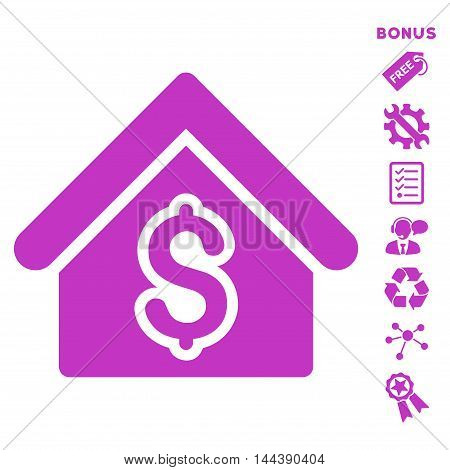 House Rent icon with bonus pictograms. Vector illustration style is flat iconic symbols, violet color, white background, rounded angles.