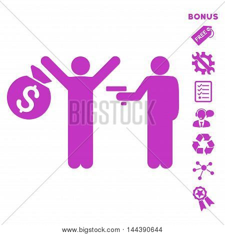 Thief Arrest icon with bonus pictograms. Vector illustration style is flat iconic symbols, violet color, white background, rounded angles.