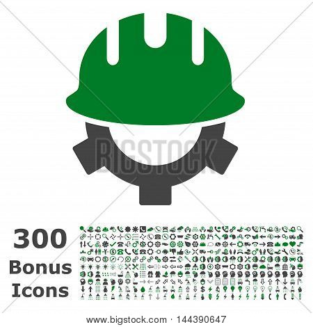 Development Helmet icon with 300 bonus icons. Vector illustration style is flat iconic bicolor symbols, green and gray colors, white background.