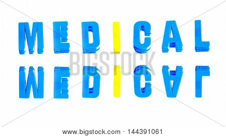 word medical from plastic letters on a white background