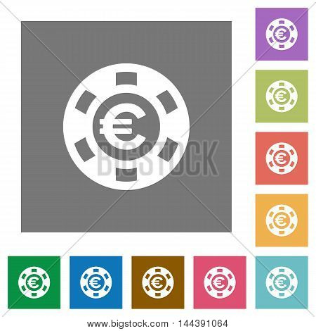 Euro casino chip flat icon set on color square background.